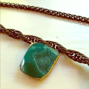 Green druzy necklace